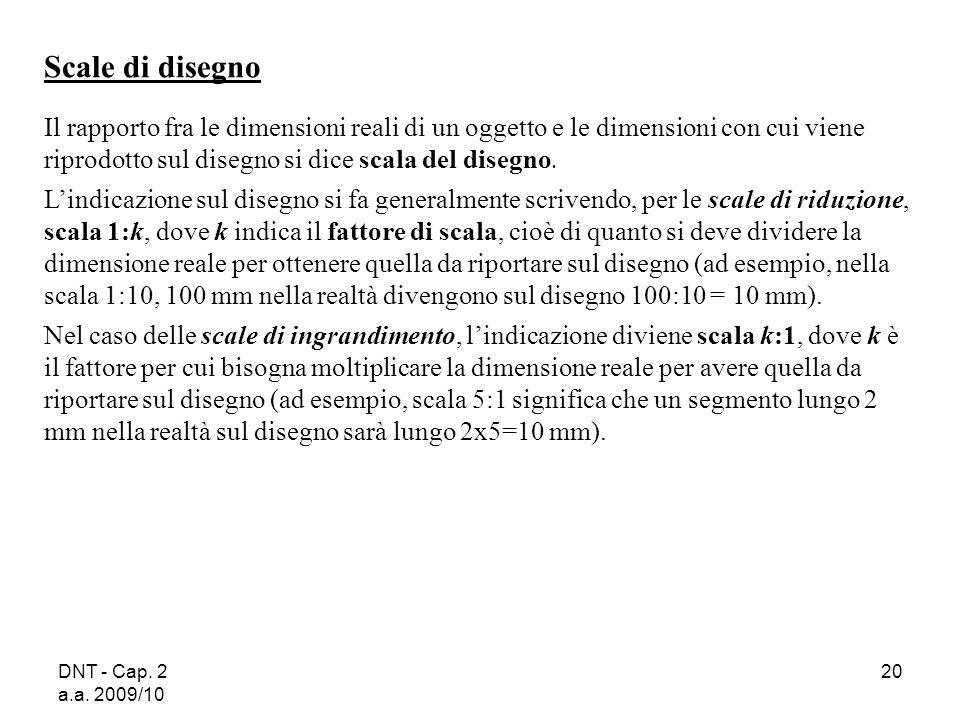 DNT - Cap. 2 a.a. 2009/10 20 Scale di disegno Il rapporto fra le dimensioni reali di un oggetto e le dimensioni con cui viene riprodotto sul disegno s