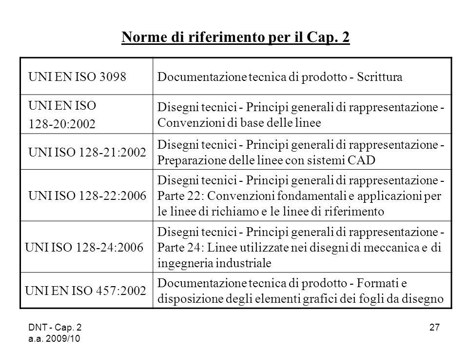 DNT - Cap. 2 a.a. 2009/10 27 UNI EN ISO 3098Documentazione tecnica di prodotto - Scrittura UNI EN ISO 128-20:2002 Disegni tecnici - Principi generali