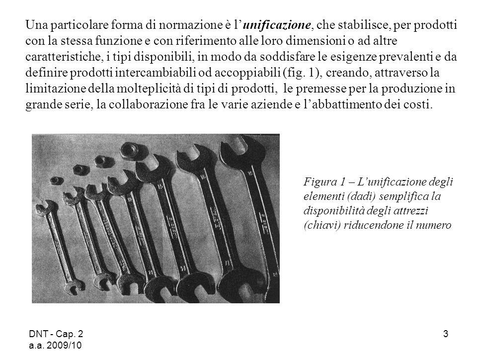 DNT - Cap. 2 a.a. 2009/10 3 Una particolare forma di normazione è lunificazione, che stabilisce, per prodotti con la stessa funzione e con riferimento