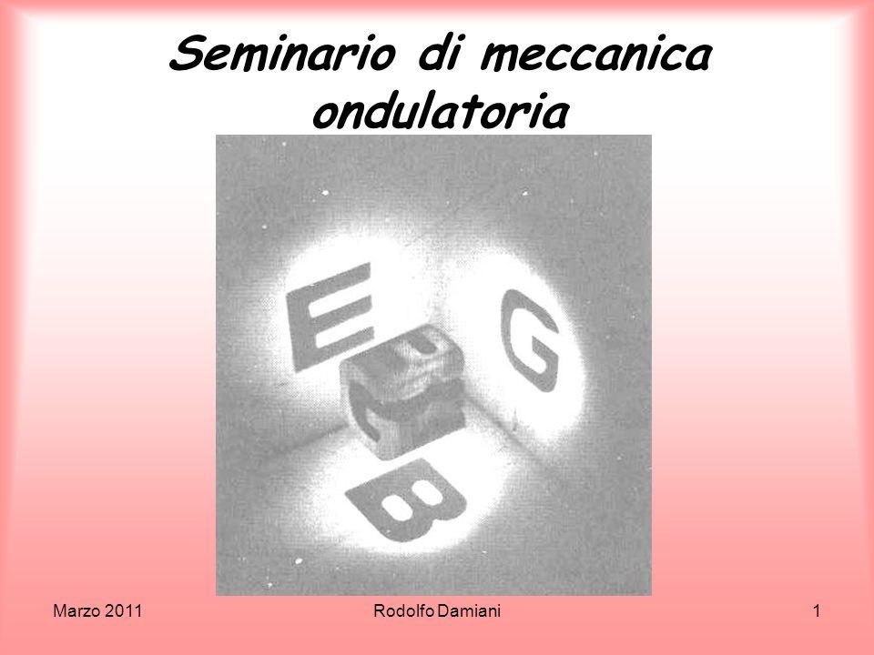 Maggio 2011Rodolfo Damiani62 Le connessioni Einstein aveva quindi due indizi per arrivare a comprendere che la luce era fatta di particelle che portano energia in ragione della propria frequenza, cioè del proprio esser onda: leffetto Doppler relativistico con lequivalenza massa-energia e la relazione fra p ed E per particelle di massa nulla.