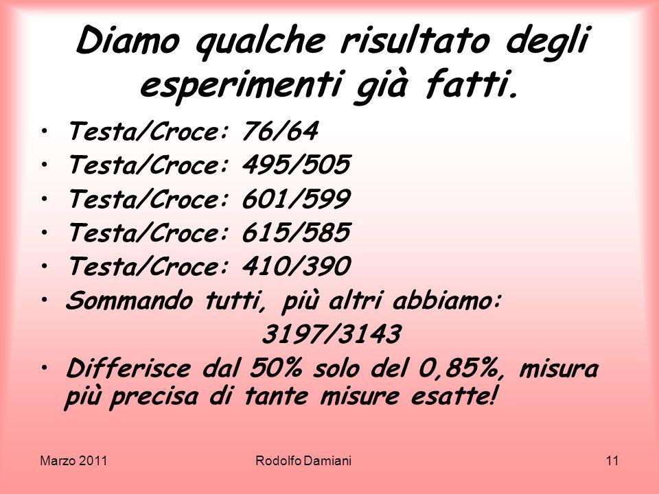 Marzo 2011 Rodolfo Damiani11 Diamo qualche risultato degli esperimenti già fatti. Testa/Croce: 76/64 Testa/Croce: 495/505 Testa/Croce: 601/599 Testa/C
