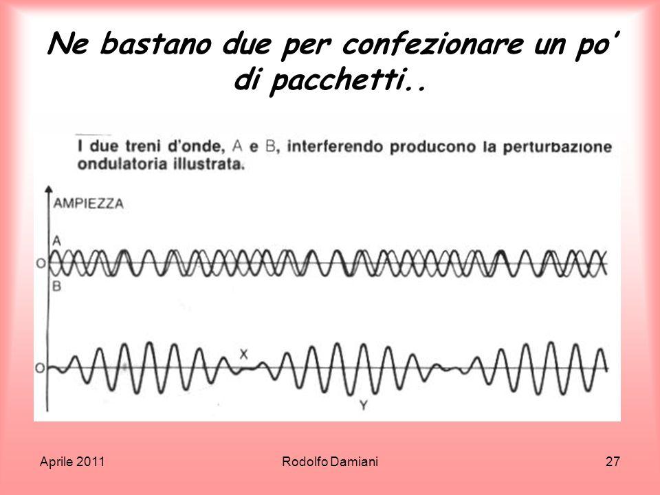 Aprile 2011Rodolfo Damiani27 Ne bastano due per confezionare un po di pacchetti..