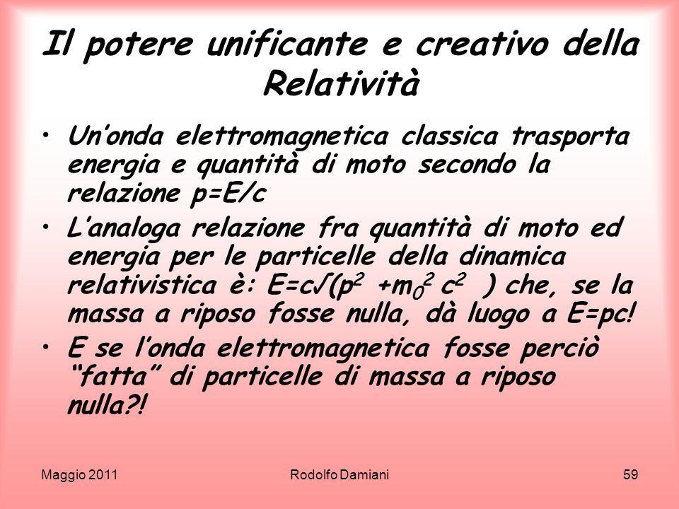 Maggio 2011Rodolfo Damiani59 Il potere unificante e creativo della Relatività Unonda elettromagnetica classica trasporta energia e quantità di moto se