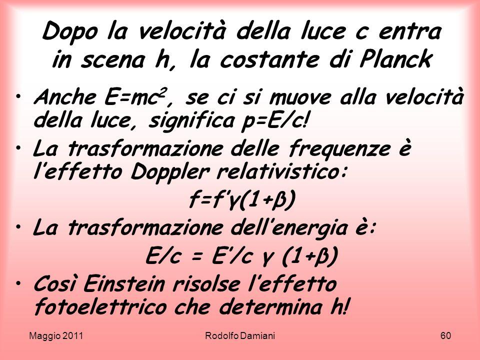Maggio 2011Rodolfo Damiani60 Dopo la velocità della luce c entra in scena h, la costante di Planck Anche E=mc 2, se ci si muove alla velocità della lu