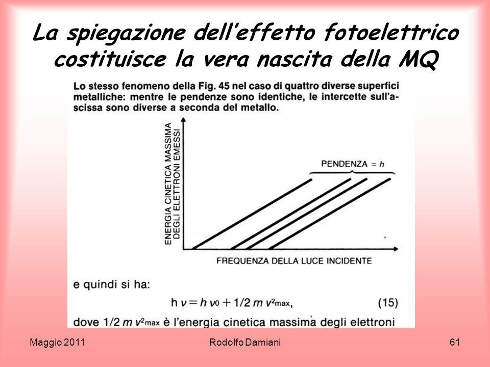 Maggio 2011Rodolfo Damiani61 La spiegazione delleffetto fotoelettrico costituisce la vera nascita della MQ