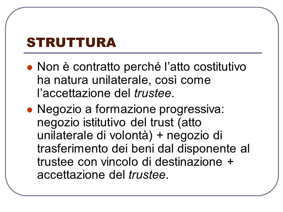 STRUTTURA Non è contratto perché latto costitutivo ha natura unilaterale, così come laccettazione del trustee.