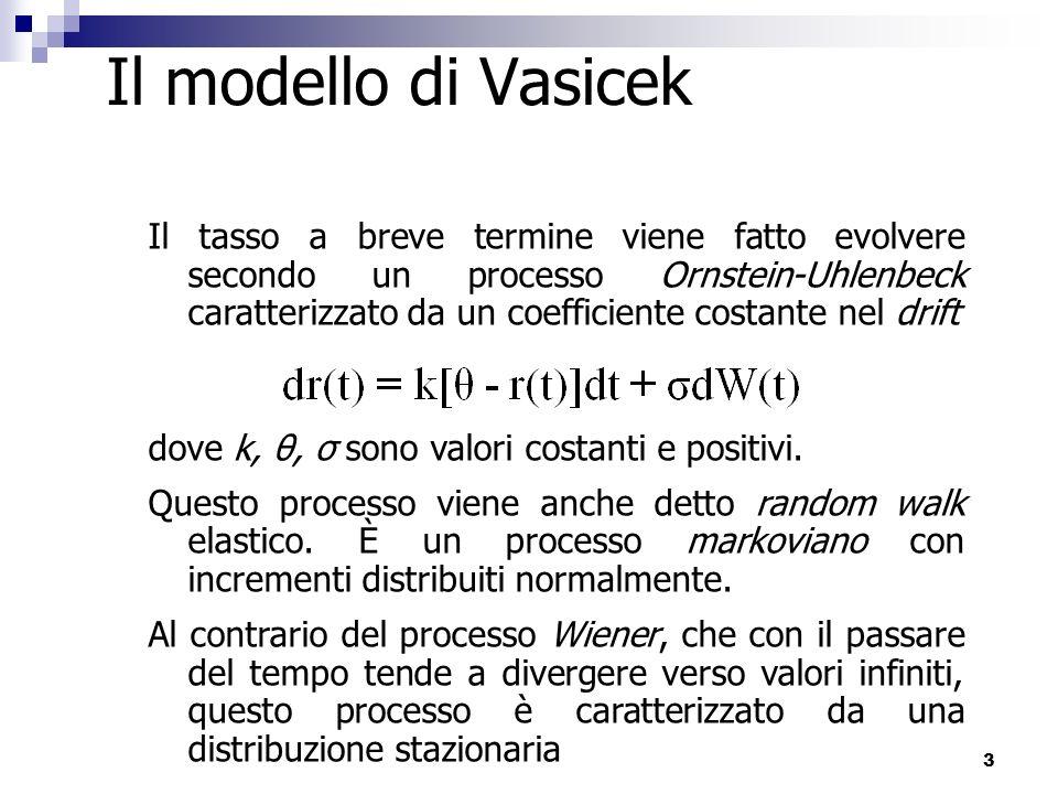 4 Il modello di Vasicek Il drift istantaneo rappresenta una forza che porta il processo nel lungo termine verso la media di lungo termine θ, con forza proporzionale alla deviazione del processo dalla media Media di lungo termine La componente stocastica fa fluttuare il processo intorno alla media di lungo termine in modo erratico ma continuo