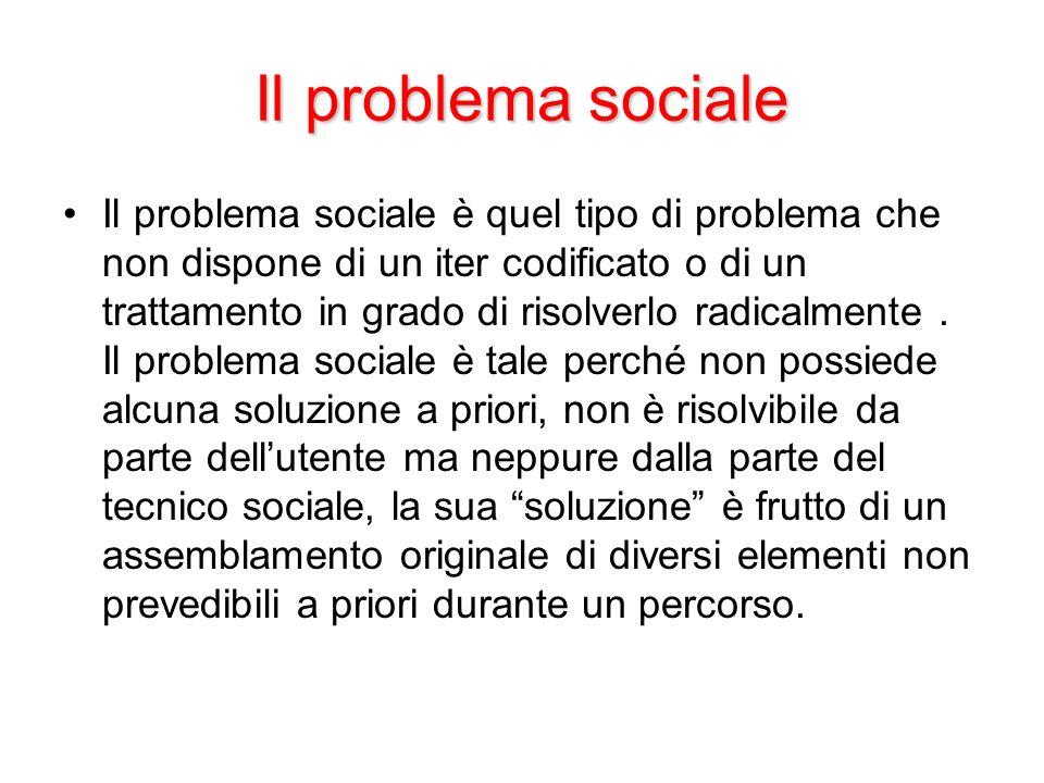 Il problema sociale Il problema sociale è quel tipo di problema che non dispone di un iter codificato o di un trattamento in grado di risolverlo radic
