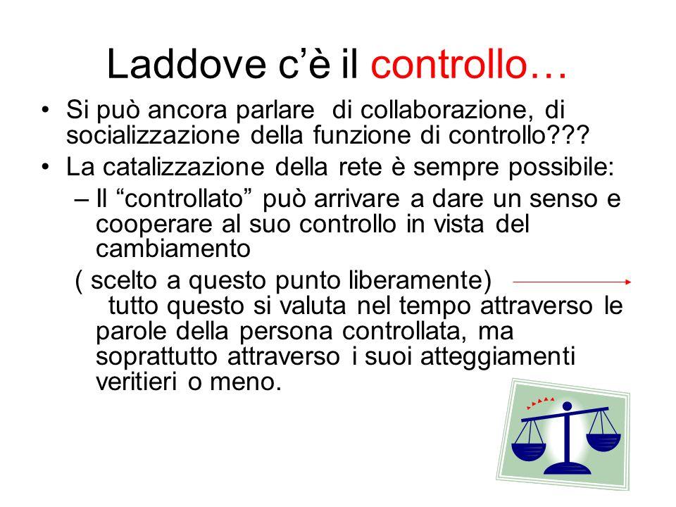 Laddove cè il controllo… Si può ancora parlare di collaborazione, di socializzazione della funzione di controllo??? La catalizzazione della rete è sem