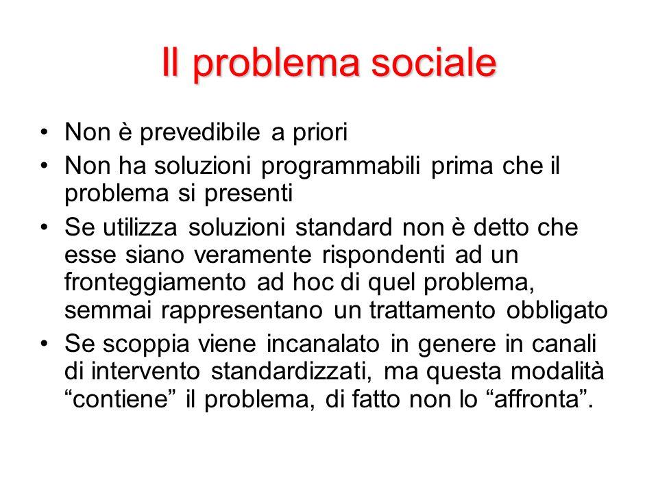 Il problema sociale Non è prevedibile a priori Non ha soluzioni programmabili prima che il problema si presenti Se utilizza soluzioni standard non è d
