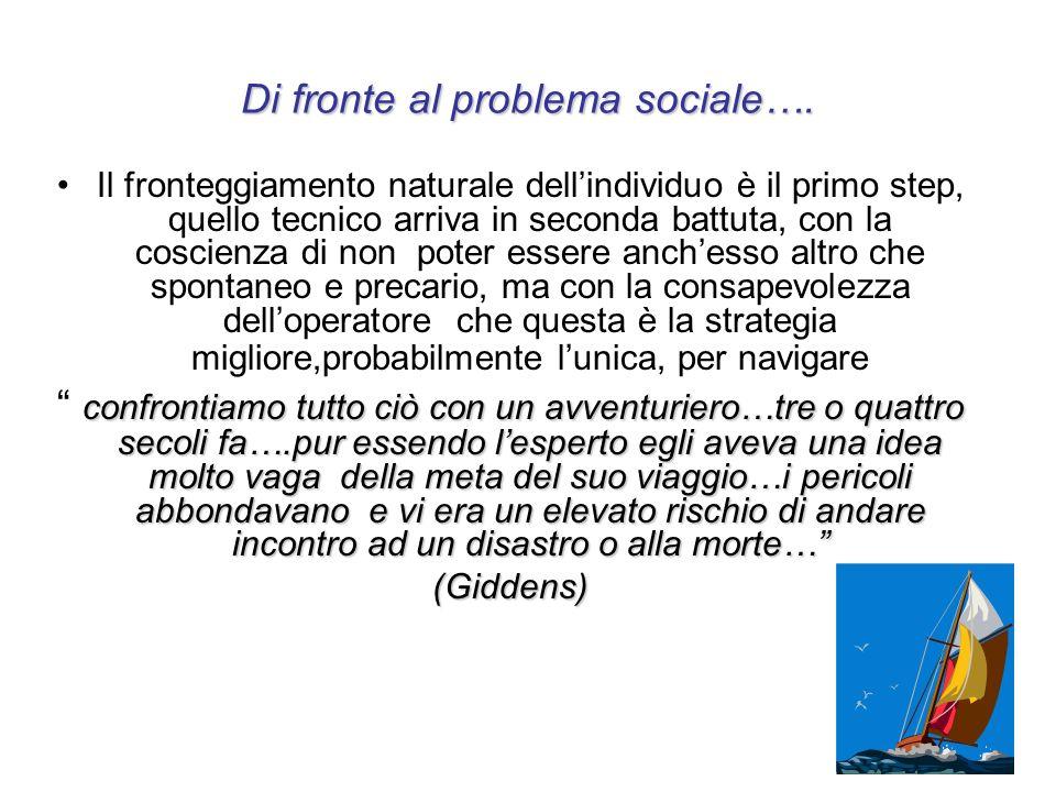 Di fronte al problema sociale…. Il fronteggiamento naturale dellindividuo è il primo step, quello tecnico arriva in seconda battuta, con la coscienza