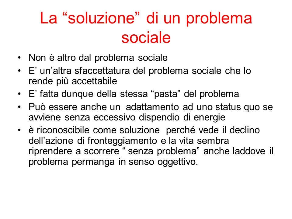 La soluzione di un problema sociale Non è altro dal problema sociale E unaltra sfaccettatura del problema sociale che lo rende più accettabile E fatta
