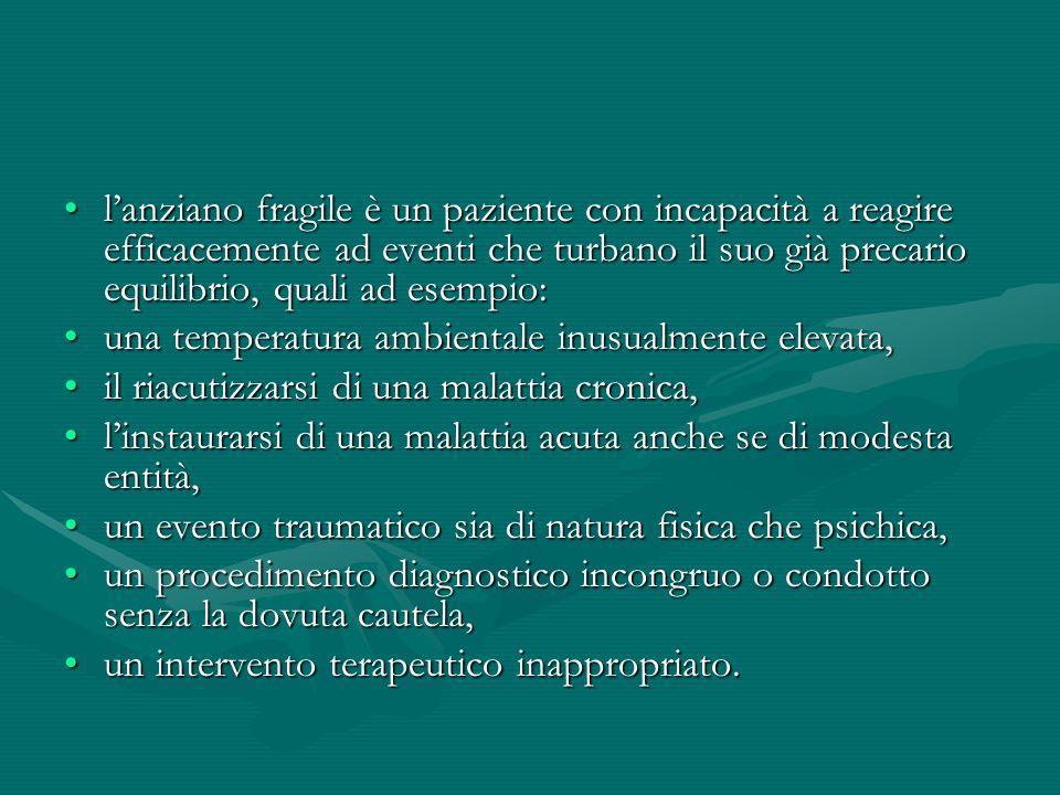 lanziano fragile è un paziente con incapacità a reagire efficacemente ad eventi che turbano il suo già precario equilibrio, quali ad esempio:lanziano