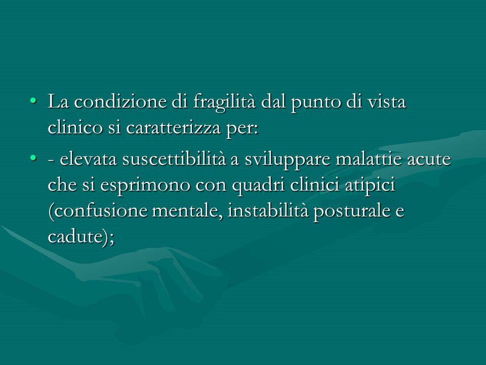 La condizione di fragilità dal punto di vista clinico si caratterizza per:La condizione di fragilità dal punto di vista clinico si caratterizza per: -