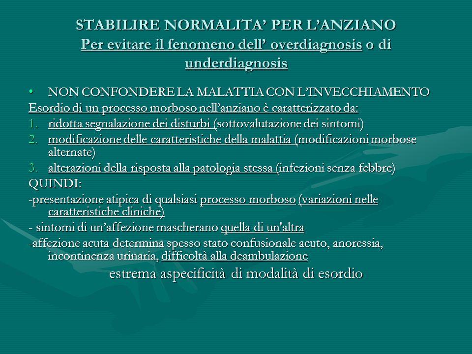 PREVALENZA DI PROCESSI MORBOSI NELLANZIANO ad andamento cronico patologia cerebrovascolare: cardiopatia ischemica, vascuopatia cerebralepatologia cerebrovascolare: cardiopatia ischemica, vascuopatia cerebrale infezioni: broncopolmonare, urinarieinfezioni: broncopolmonare, urinarie malnutrizionemalnutrizione neoplasieneoplasie affezioni osteoarticolariaffezioni osteoarticolari malattie del SNCmalattie del SNC