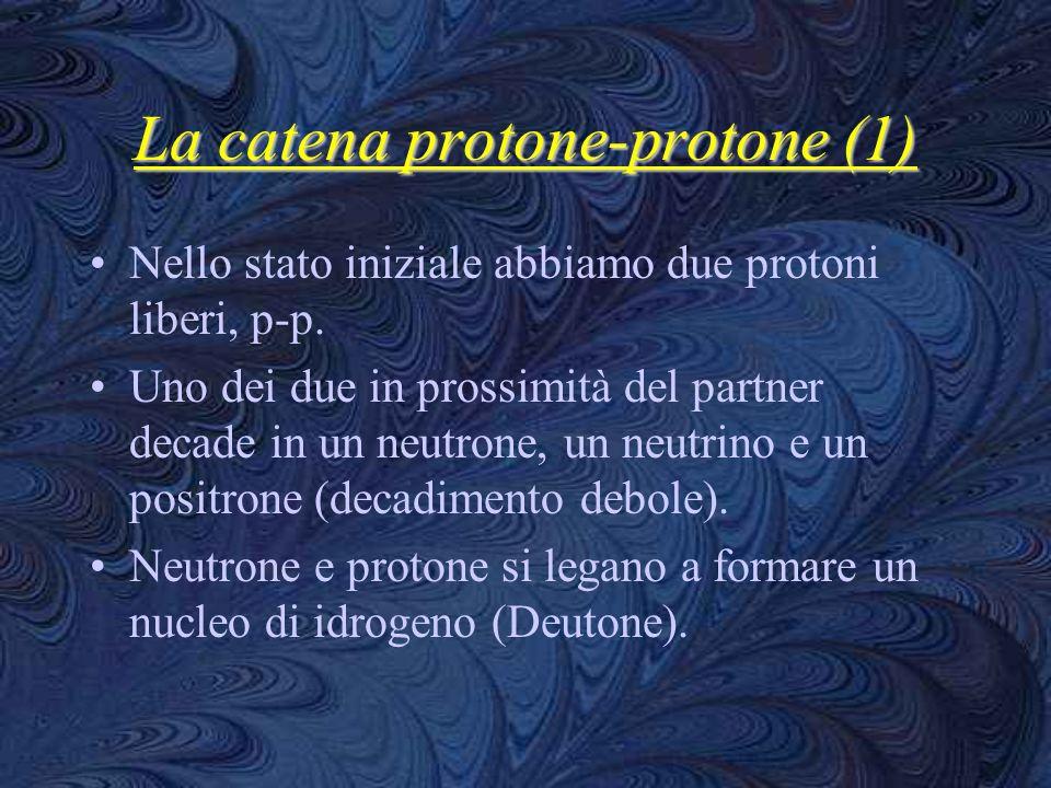 La catena protone-protone (1) Nello stato iniziale abbiamo due protoni liberi, p-p. Uno dei due in prossimità del partner decade in un neutrone, un ne