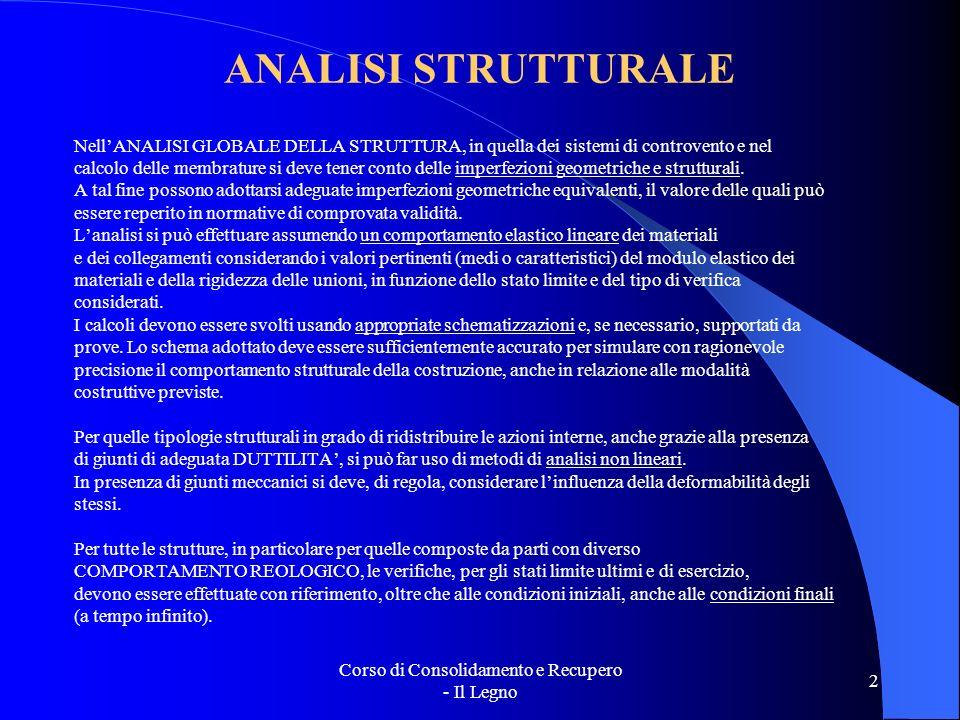 Corso di Consolidamento e Recupero - Il Legno 2 ANALISI STRUTTURALE NellANALISI GLOBALE DELLA STRUTTURA, in quella dei sistemi di controvento e nel ca