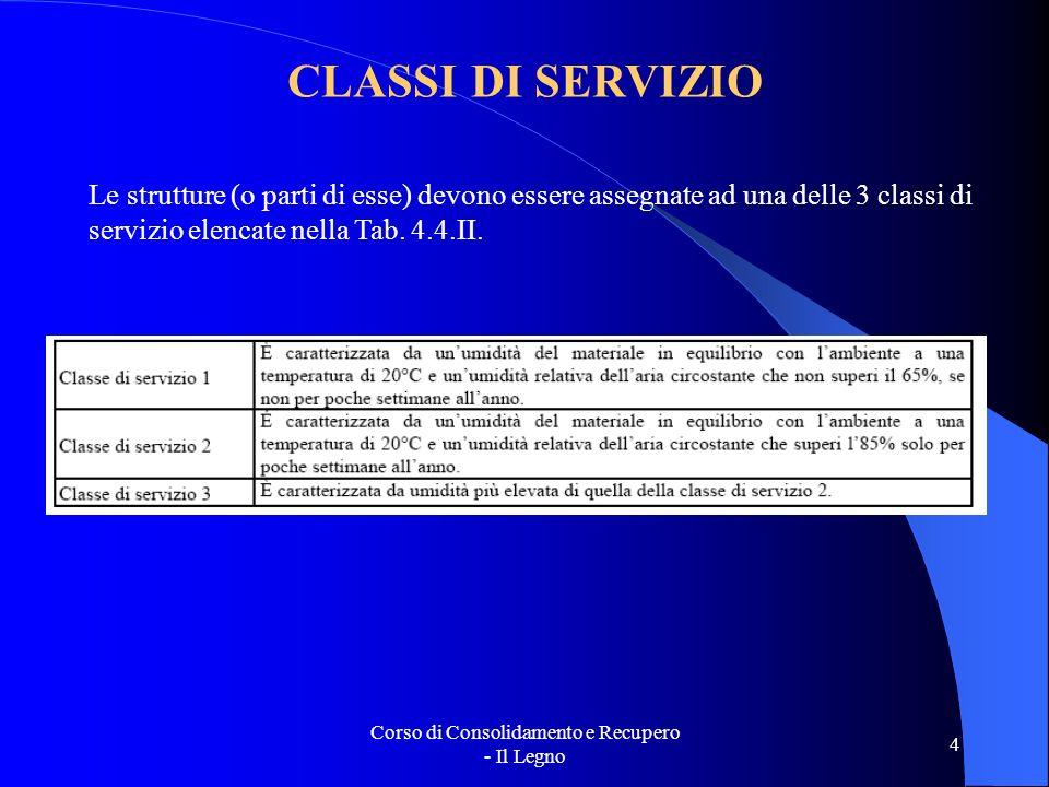 Corso di Consolidamento e Recupero - Il Legno 4 CLASSI DI SERVIZIO Le strutture (o parti di esse) devono essere assegnate ad una delle 3 classi di ser