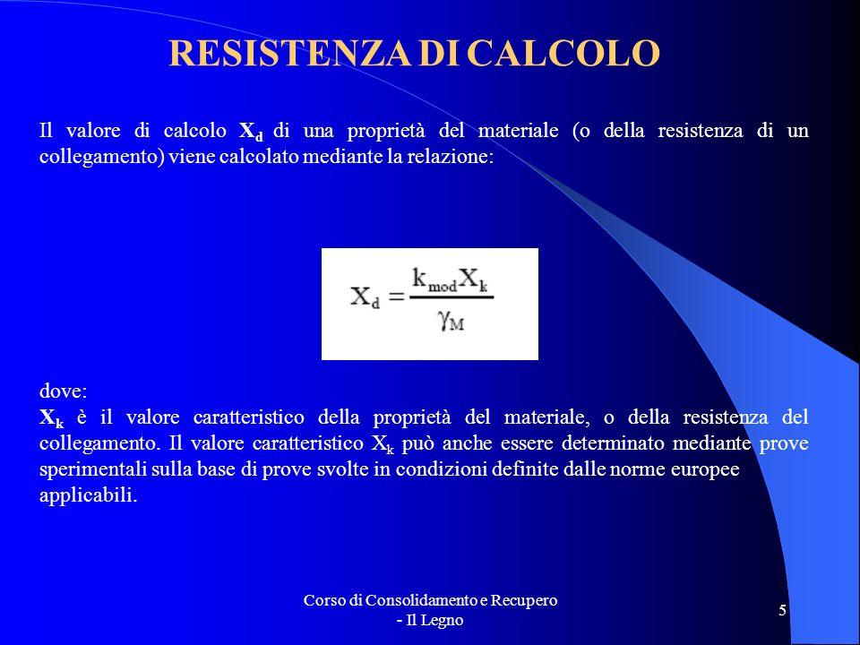 Corso di Consolidamento e Recupero - Il Legno 5 RESISTENZA DI CALCOLO Il valore di calcolo X d di una proprietà del materiale (o della resistenza di u