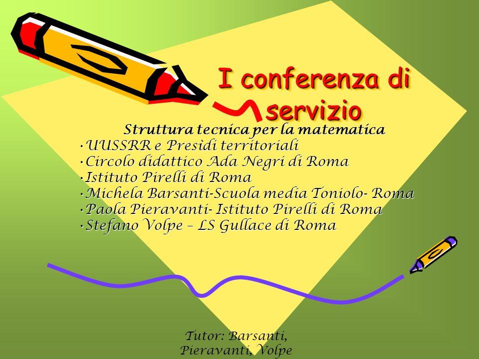 I conferenza di servizio I conferenza di servizio Struttura tecnica per la matematica UUSSRR e Presìdi territorialiUUSSRR e Presìdi territoriali Circo