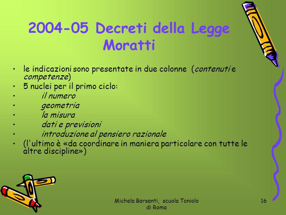 Michela Barsanti, scuola Toniolo di Roma 16 2004-05 Decreti della Legge Moratti le indicazioni sono presentate in due colonne (contenuti e competenze)