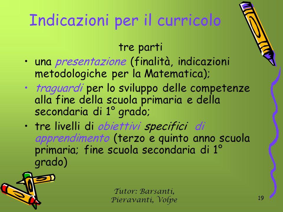 19 Indicazioni per il curricolo tre parti una presentazione (finalità, indicazioni metodologiche per la Matematica); traguardi per lo sviluppo delle c