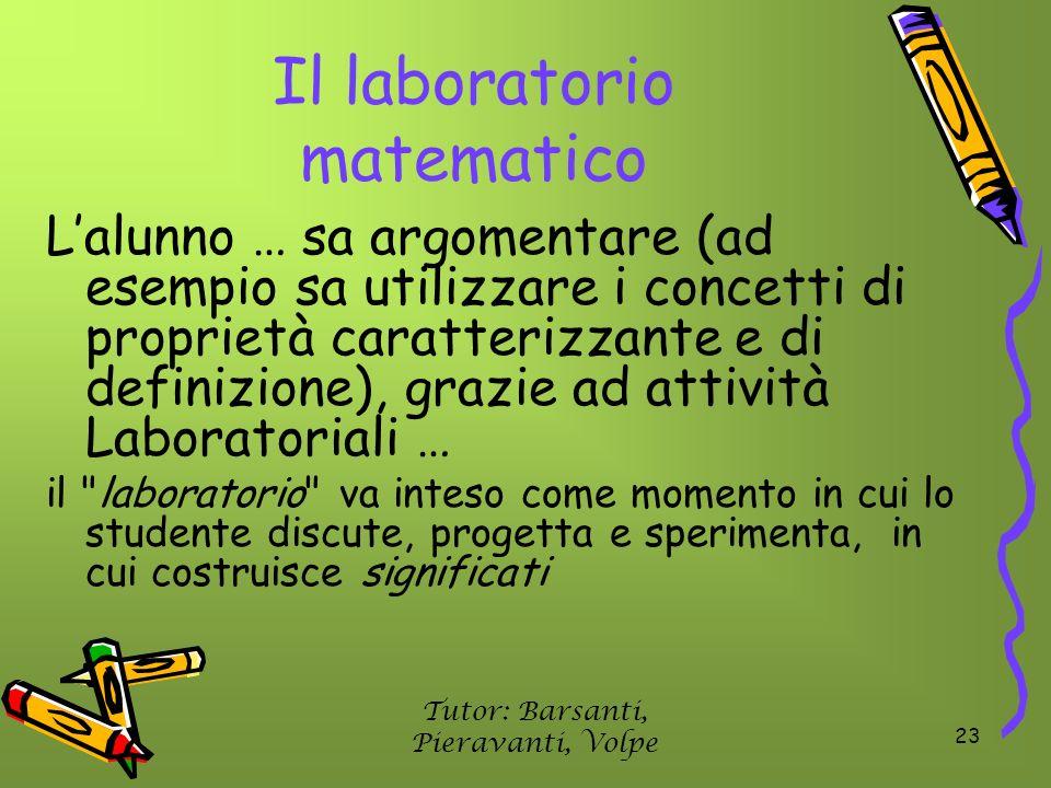 23 Il laboratorio matematico Lalunno … sa argomentare (ad esempio sa utilizzare i concetti di proprietà caratterizzante e di definizione), grazie ad a