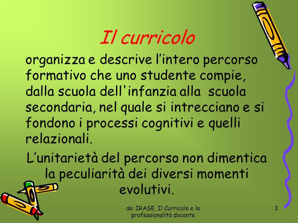 da: IRASE, Il Curricolo e la professionalità docente 3 Il curricolo organizza e descrive lintero percorso formativo che uno studente compie, dalla scu
