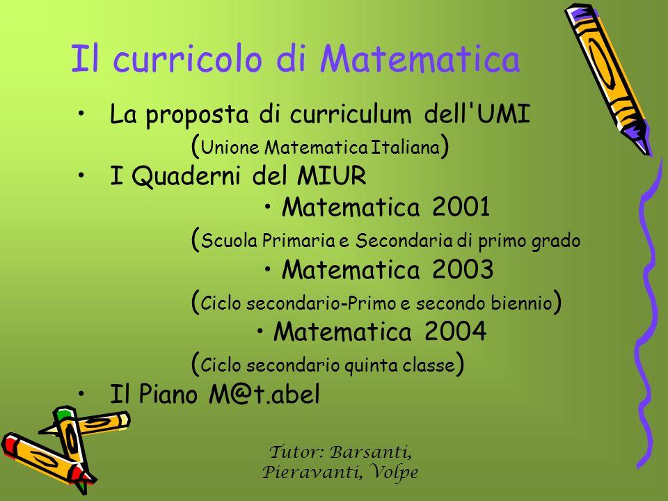 Il curricolo di Matematica La proposta di curriculum dell'UMI ( Unione Matematica Italiana ) I Quaderni del MIUR Matematica 2001 ( Scuola Primaria e S