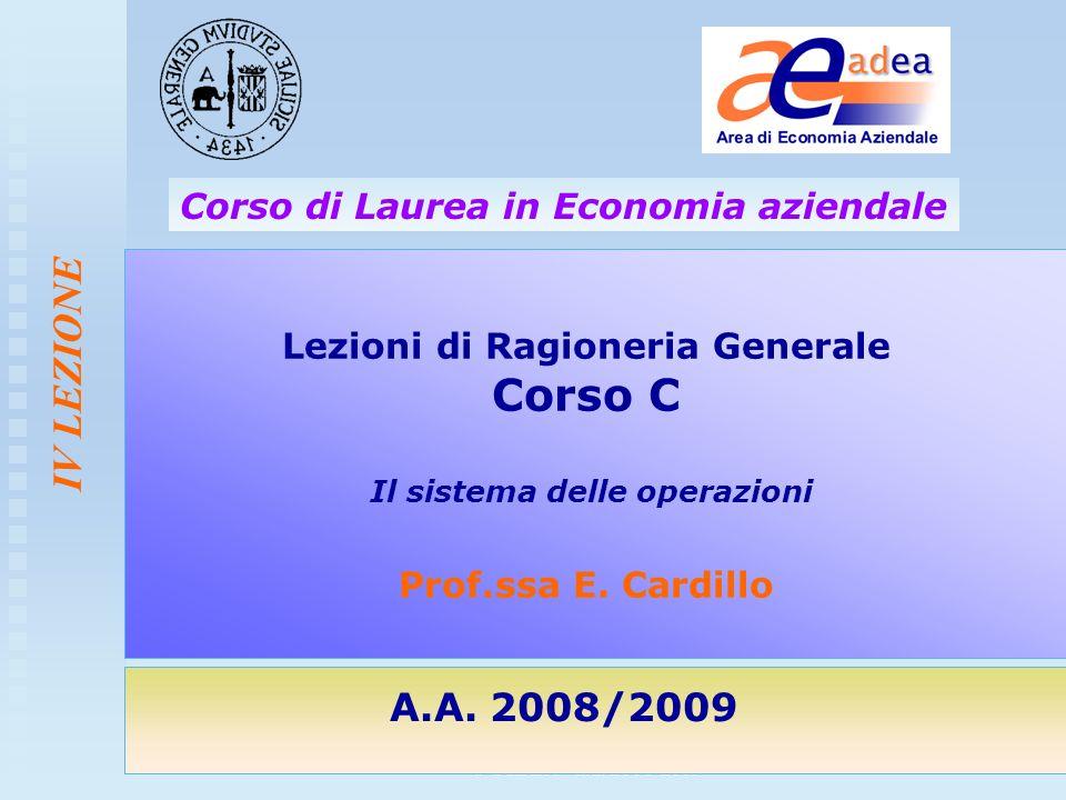 Corso di Ragioneria Generale- Corso C CdL EA - a.a. 2008-2009 IV LEZIONE Lezioni di Ragioneria Generale Corso C Il sistema delle operazioni Prof.ssa E
