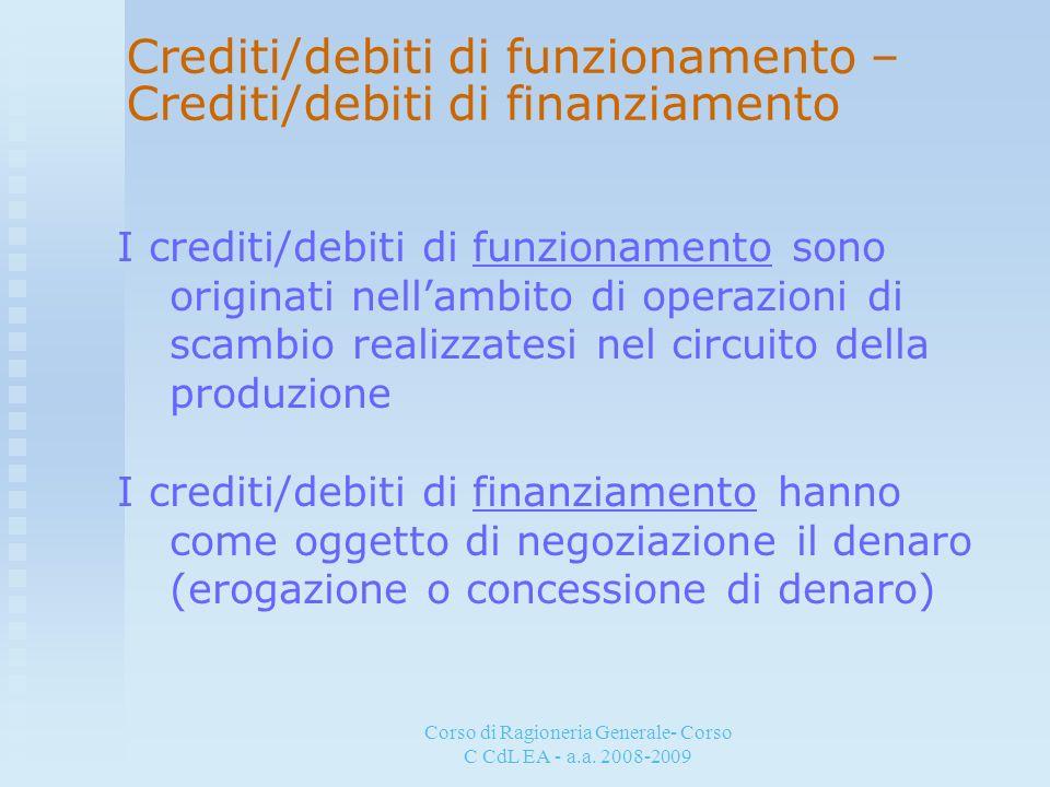 Corso di Ragioneria Generale- Corso C CdL EA - a.a. 2008-2009 Crediti/debiti di funzionamento – Crediti/debiti di finanziamento I crediti/debiti di fu