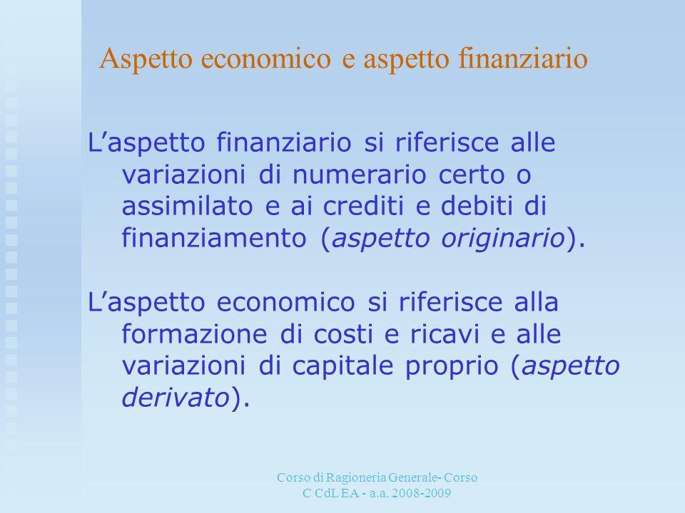 Corso di Ragioneria Generale- Corso C CdL EA - a.a. 2008-2009 Aspetto economico e aspetto finanziario Laspetto finanziario si riferisce alle variazion
