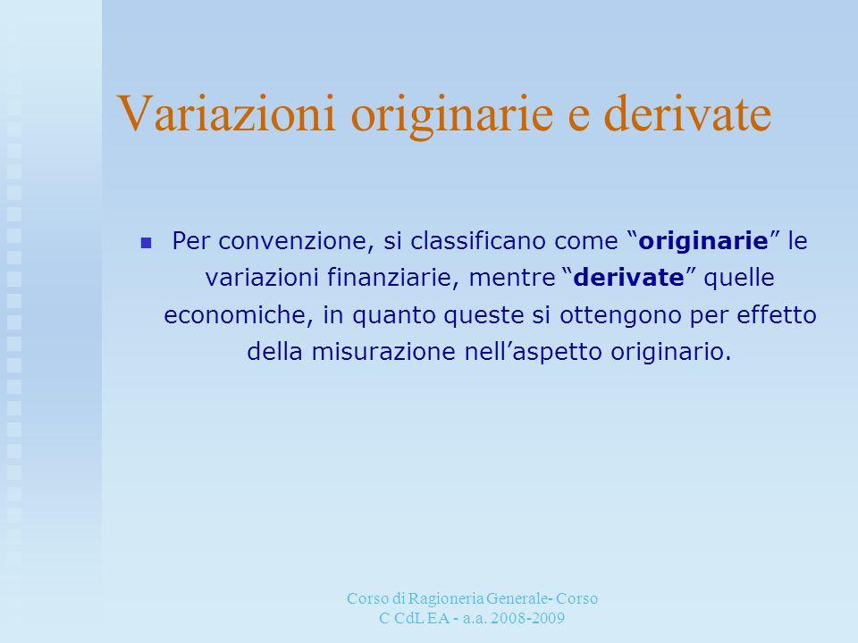 Corso di Ragioneria Generale- Corso C CdL EA - a.a. 2008-2009 Variazioni originarie e derivate Per convenzione, si classificano come originarie le var