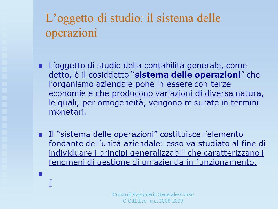 Corso di Ragioneria Generale- Corso C CdL EA - a.a. 2008-2009 Loggetto di studio: il sistema delle operazioni Loggetto di studio della contabilità gen