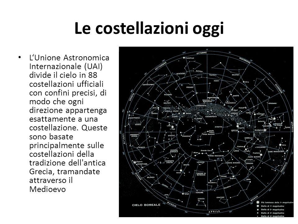 Le costellazioni oggi LUnione Astronomica Internazionale (UAI) divide il cielo in 88 costellazioni ufficiali con confini precisi, di modo che ogni dir