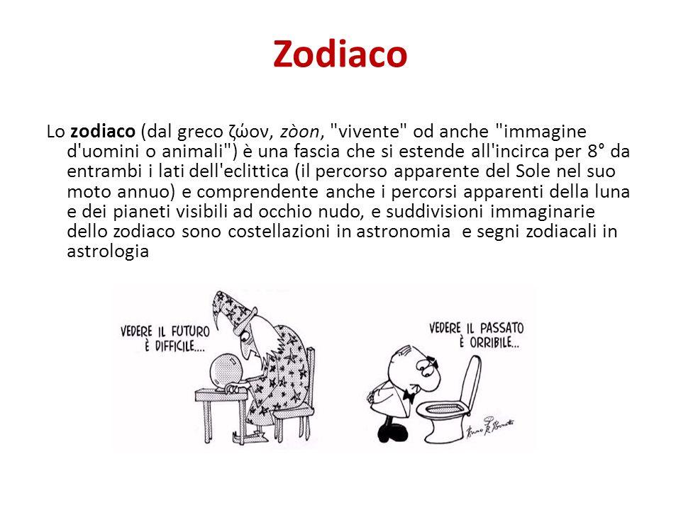 Zodiaco Lo zodiaco (dal greco ζώον, zòon,