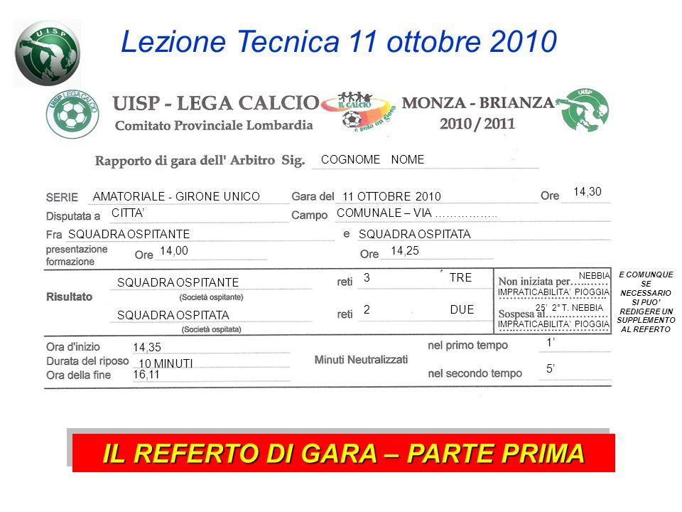 COGNOME NOME Lezione Tecnica 11 ottobre 2010 AMATORIALE - GIRONE UNICO11 OTTOBRE 2010 14,30 CITTACOMUNALE – VIA ……………..