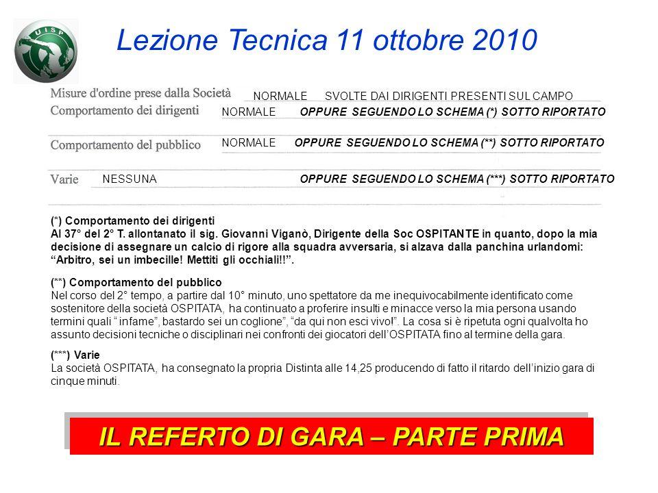 Lezione Tecnica 11 ottobre 2010 NORMALESVOLTE DAI DIRIGENTI PRESENTI SUL CAMPO NORMALEOPPURE SEGUENDO LO SCHEMA (*) SOTTO RIPORTATO NORMALEOPPURE SEGUENDO LO SCHEMA (**) SOTTO RIPORTATO NESSUNA (*) Comportamento dei dirigenti Al 37° del 2° T.