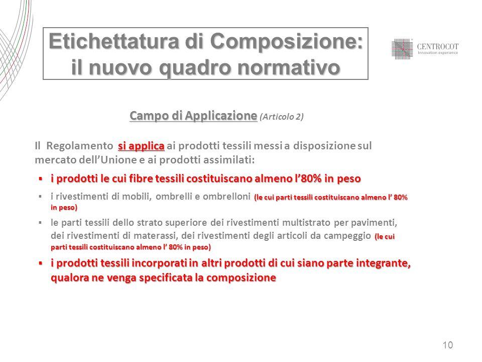 10 Campo di Applicazione Campo di Applicazione (Articolo 2) si applica Il Regolamento si applica ai prodotti tessili messi a disposizione sul mercato