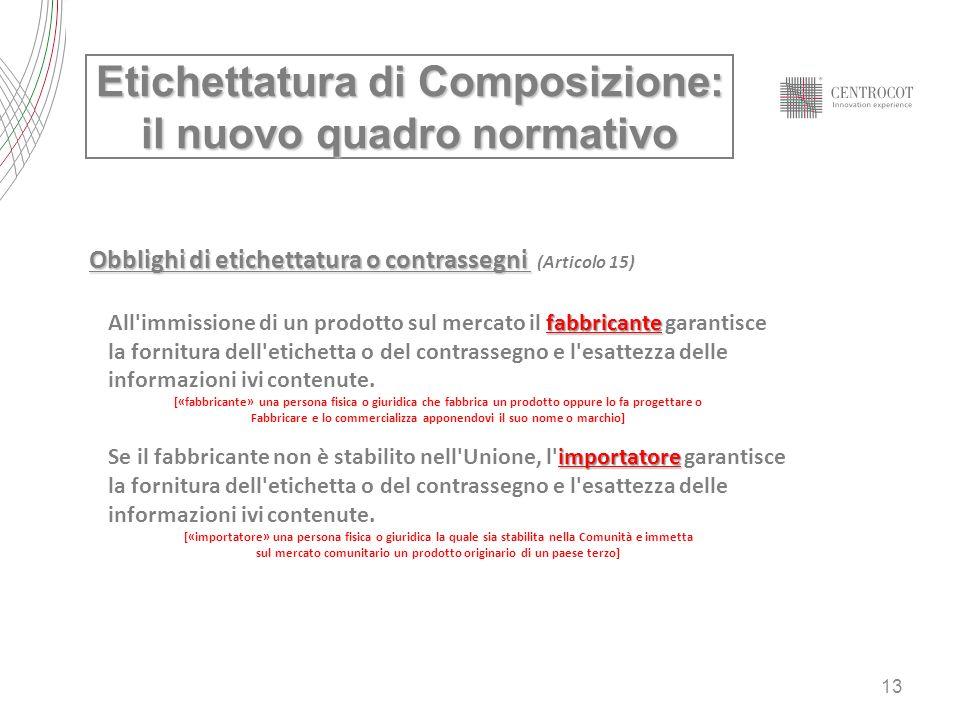 13 Etichettatura di Composizione: il nuovo quadro normativo Obblighi di etichettatura o contrassegni Obblighi di etichettatura o contrassegni (Articol