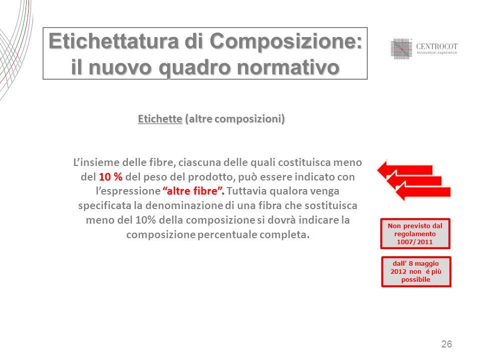26 Etichette (altre composizioni) 10 % altre fibre. Linsieme delle fibre, ciascuna delle quali costituisca meno del 10 % del peso del prodotto, può es
