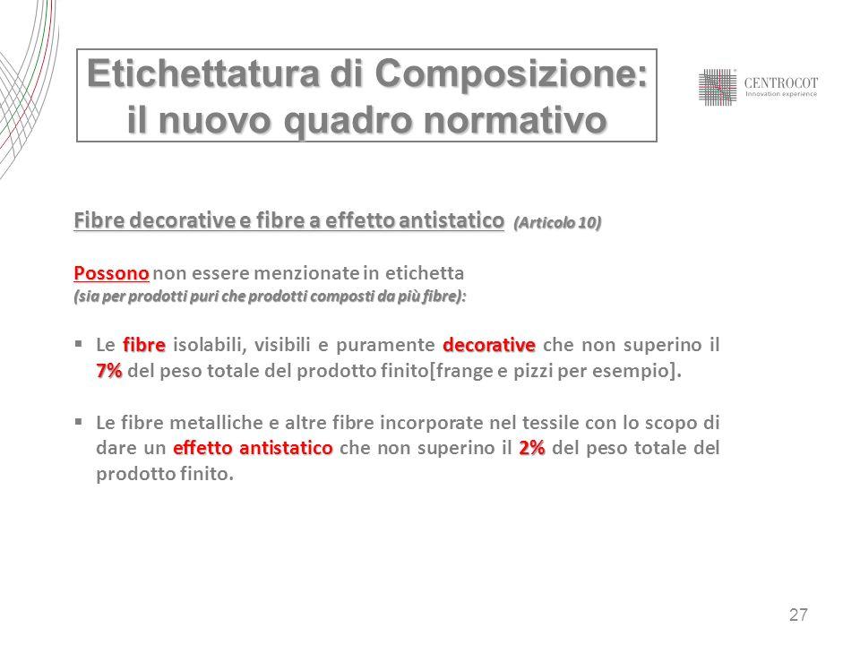 27 Etichettatura di Composizione: il nuovo quadro normativo Fibre decorative e fibre a effetto antistatico (Articolo 10) Possono Possono non essere me