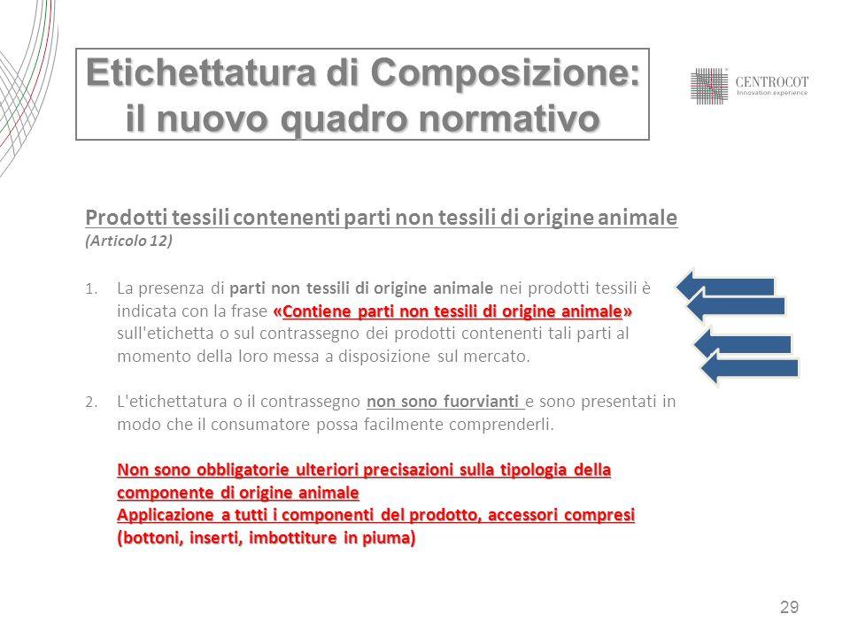 29 Etichettatura di Composizione: il nuovo quadro normativo Prodotti tessili contenenti parti non tessili di origine animale (Articolo 12) «Contiene p
