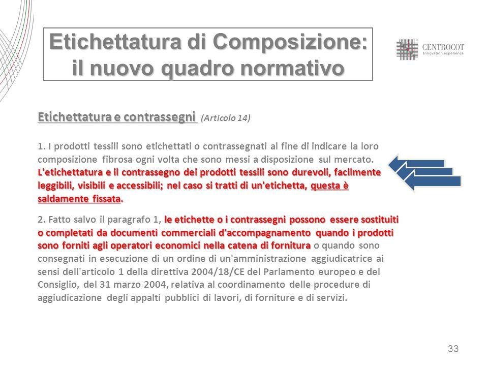 33 Etichettatura di Composizione: il nuovo quadro normativo Etichettatura e contrassegni Etichettatura e contrassegni (Articolo 14) 1. I prodotti tess