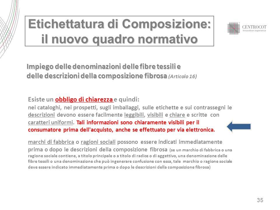 35 Etichettatura di Composizione: il nuovo quadro normativo Impiego delle denominazioni delle fibre tessili e delle descrizioni della composizione fib