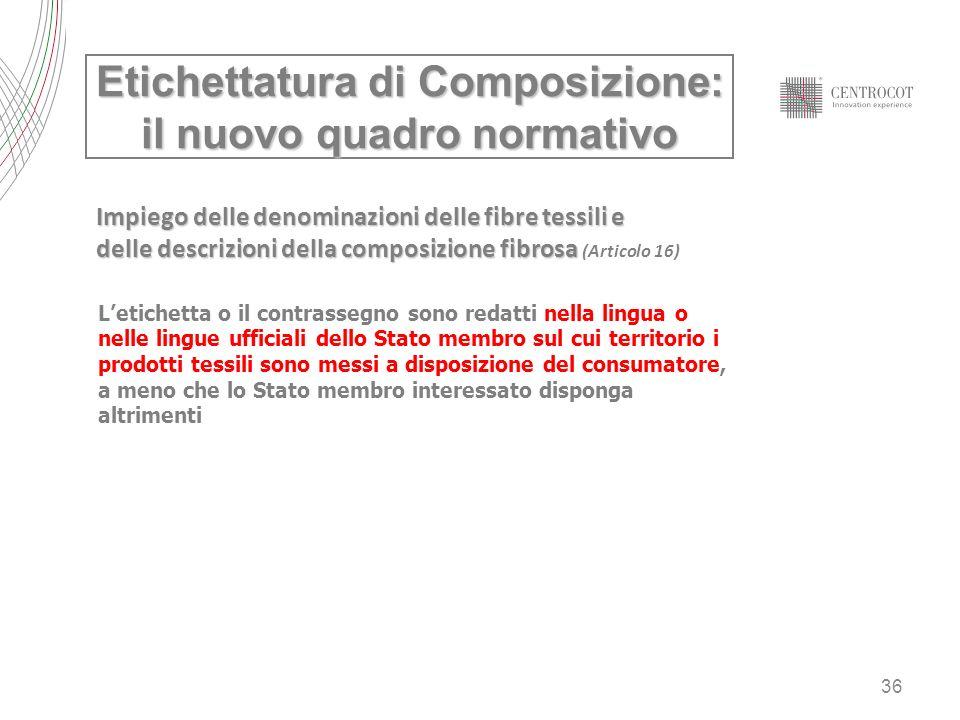 36 Etichettatura di Composizione: il nuovo quadro normativo Impiego delle denominazioni delle fibre tessili e delle descrizioni della composizione fib