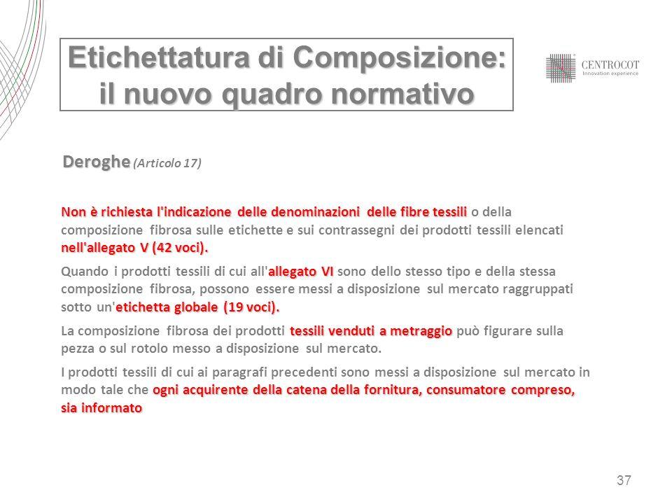 37 Etichettatura di Composizione: il nuovo quadro normativo Deroghe Deroghe (Articolo 17) Non è richiesta l'indicazione delle denominazioni delle fibr