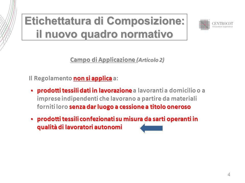 4 Campo di Applicazione (Articolo 2) non si applica Il Regolamento non si applica a: prodotti tessili dati in lavorazione senza dar luogo a cessione a