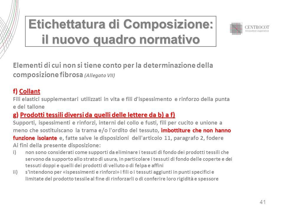 41 Etichettatura di Composizione: il nuovo quadro normativo Elementi di cui non si tiene conto per la determinazione della composizione fibrosa (Alleg