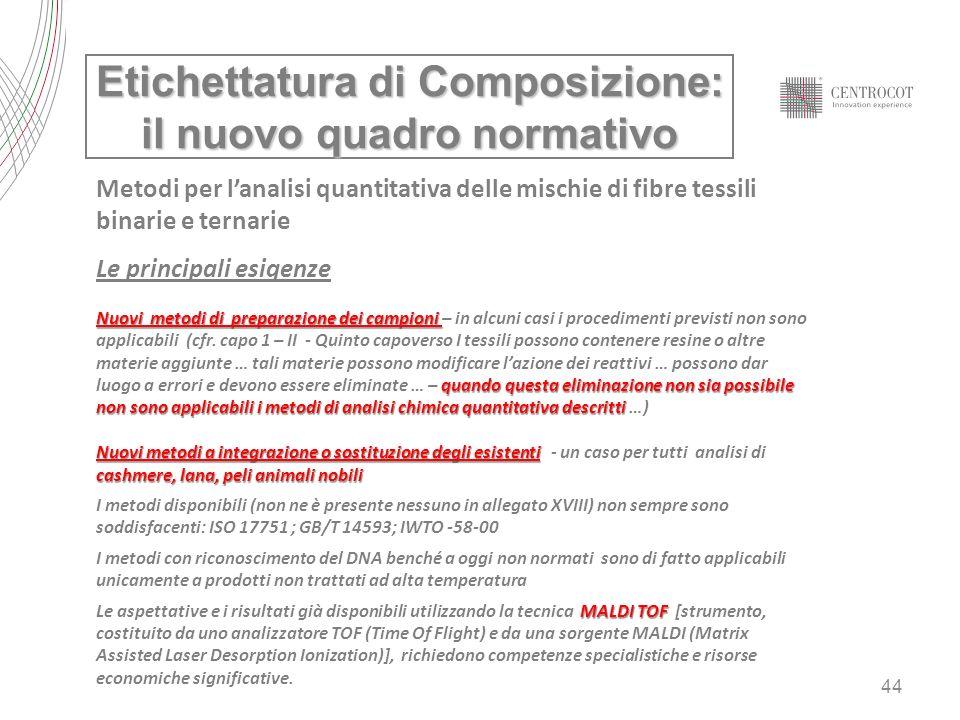 44 Etichettatura di Composizione: il nuovo quadro normativo Metodi per lanalisi quantitativa delle mischie di fibre tessili binarie e ternarie Le prin